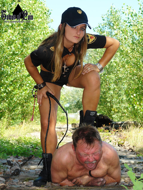 slave mistress femdom whip catch down on the ground dominsation at her feet