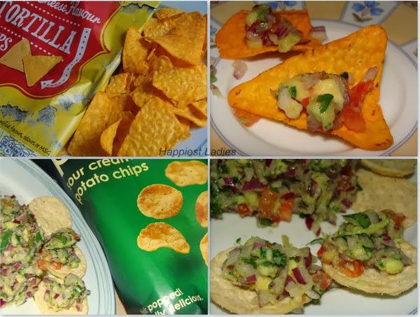 gokomoli dip with tortilla chips+vegetable recipe