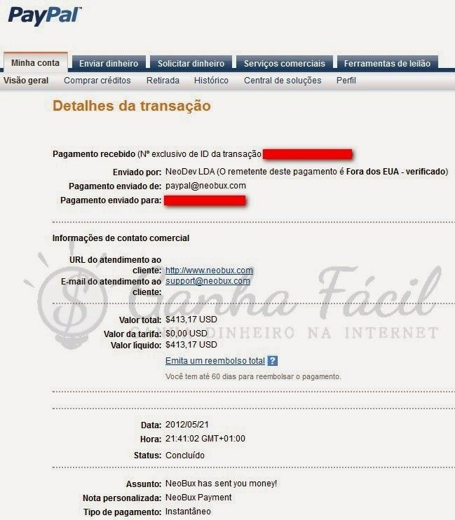 paypal neobux pagamento payout cashout paga dinheiro euro crise