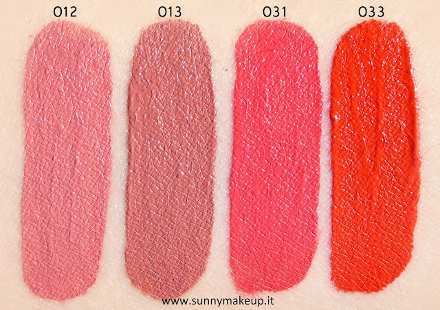 Swatch Pupa - I'm Matt Lip Fluid. Rossetti liquidi opachi nelle colorazioni: 012 Rose Nude, 013 Sable Brown, 031 Coralicious, 033 Orange Juice.