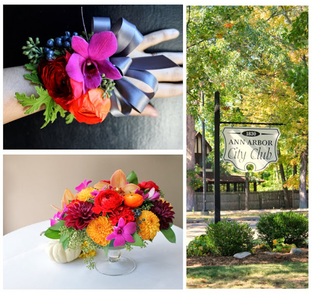 Ann Arbor City Club wedding flower corsages and centerpieces in clear glass compotes red and orange ranunculus dahlia purple and rust orchids viburnum berries and seeded eucalyptus rustic elegant sweet pea floral design