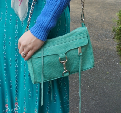 Rebecca Minkoff aquamarine mini MAC with teal printed maxi dress