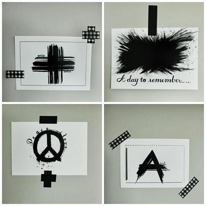 svarta och vita prints, artprints, vykort, sätta upp vykort på väggen, washitejp, svarta och vita prints