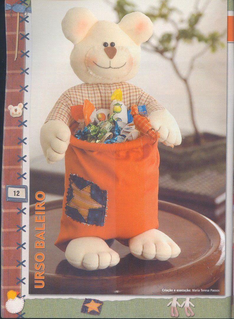 Ursinho porta-doces de tecido com moldes