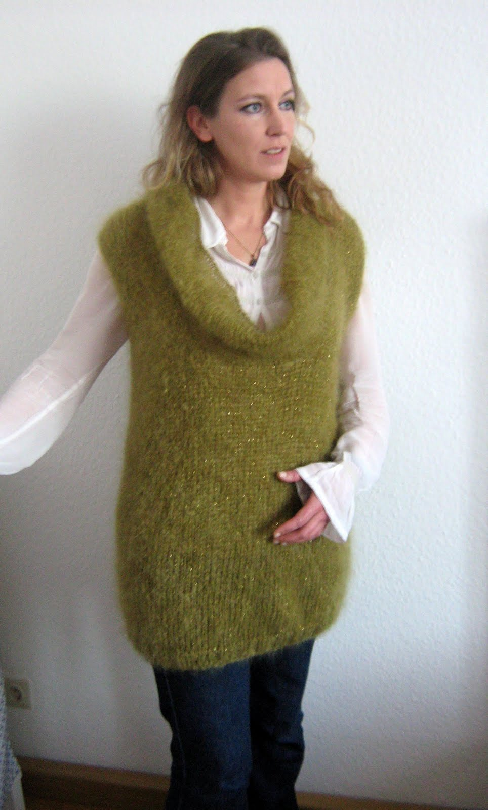 Saffron Yellow - Journey of a Crafting Mama: Long Mohair Vest