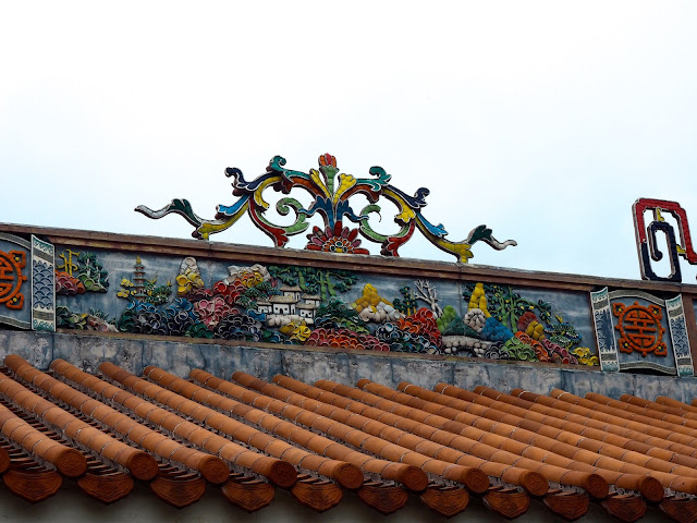 Colourful flowers on the roof of Pak Tai Temple, Cheung Chau Island, Hong Kong