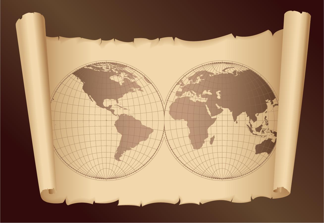 趣のある古地図のクリップアート old map and compass vector イラスト素材