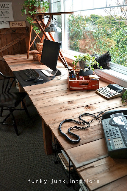 pallet wood farm table styled desk via Funky Junk Interiors