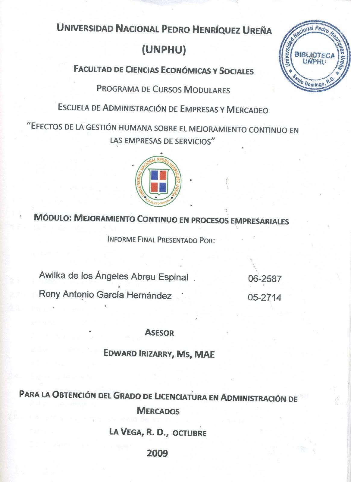 de Trabajos de Grado y Tesis Recibidas: ESCUELA DE ADMINISTRACION DE ...