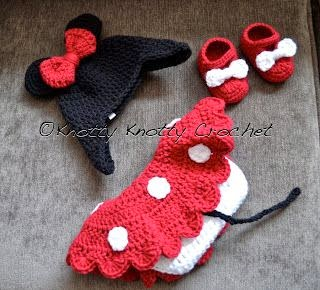 Knotty Knotty Crochet: Minnie Little Mouse hat, shoes and ...