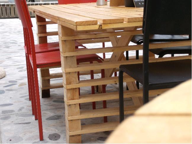 Inka palets barcelona mesa de bar de madera for Mesas de madera para bar