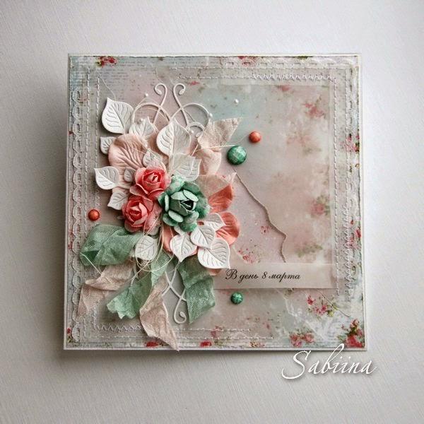Открытка 8 марта, шебби, шебби-шик, открытки ручной работы, открытка своими руками, сувениры, подарки, женщинам