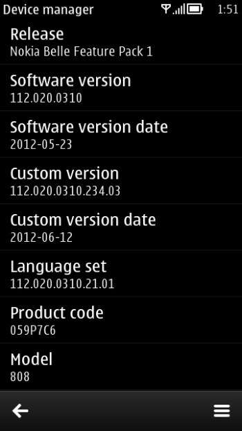 Software V112.020.0310 per migliori prestazioni su Nokia 808