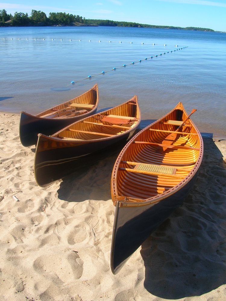 Three sister canoes all built in pam wedd s shop right to left pam