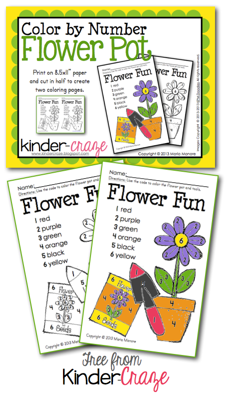 Color by Number Flower Pot - FREE from Kinder-Craze