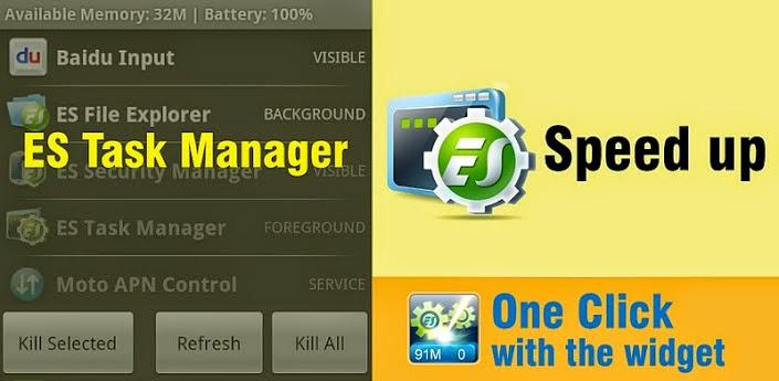 برنامج es task manager 2014 لزيادة من سرعة هواتف الاندرويد