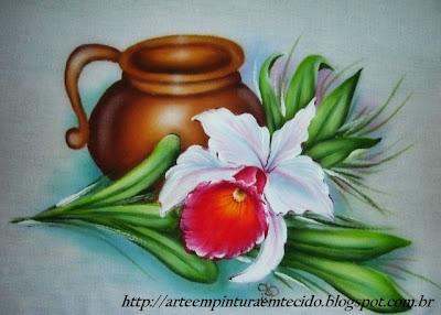pintura em tecido flores pano de prato orquidea