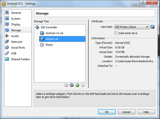 VirtualBox - Android Settings