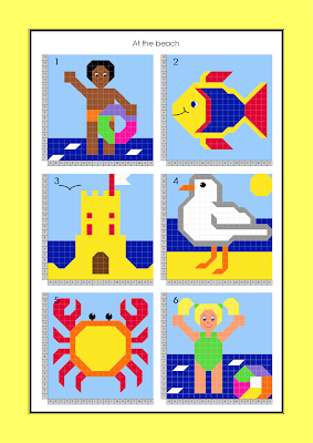 Boy; Fish; Sand Castle; Seagull; Crab; Girl