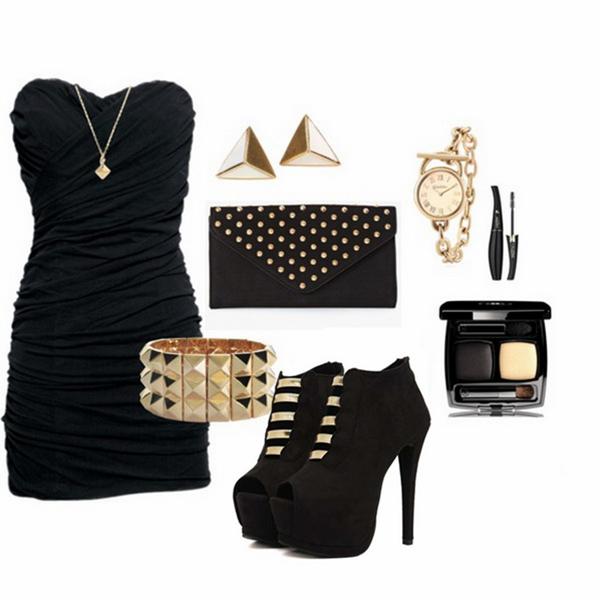 Siyah Straplez Mini Elbise, Gece Kıyafeti ve Kombini