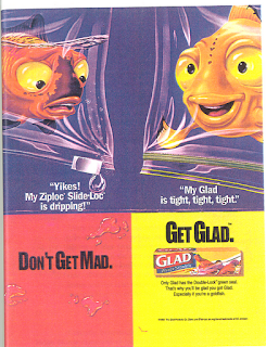 glad ad with cartoon goldfish