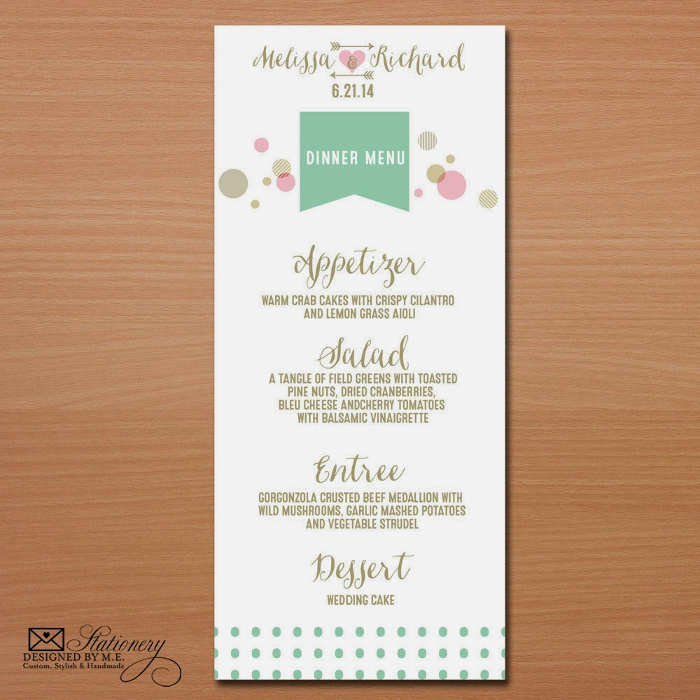 Whimsical Wedding Menus - you pick colors & fonts