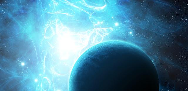 Nuvem azul do cinturão de fótons  em direção da Terra