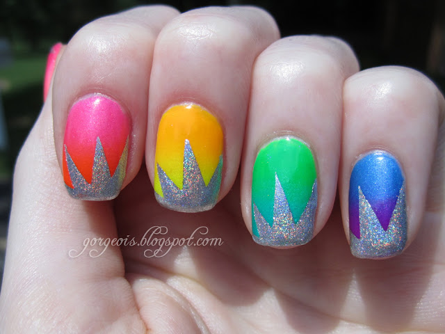 Neon Gradient with holo explosion using China Glaze Kiwi Cool-ada, Turned Up Turquoise, Splish Splash, Beach Cruise-r, Love's a Beach, Orange Knockout, Sun Worshipper, Sun-Kissed, Jesse's Girl North Star and Ozotic 509