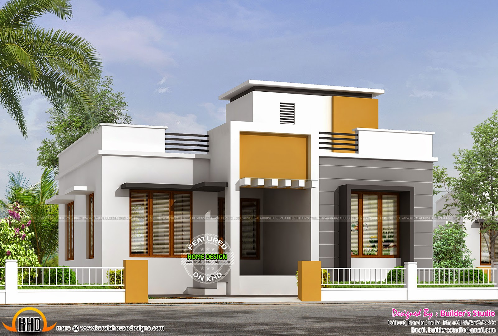 850 sq ft flat roof one floor home kerala home design for One level house designs
