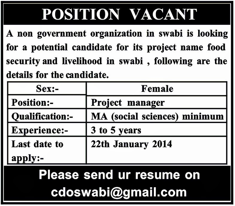Jobs for Project Manager in Swabi, KPK