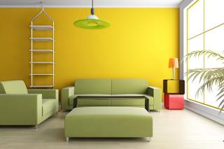 verde y amarillo en la decoración