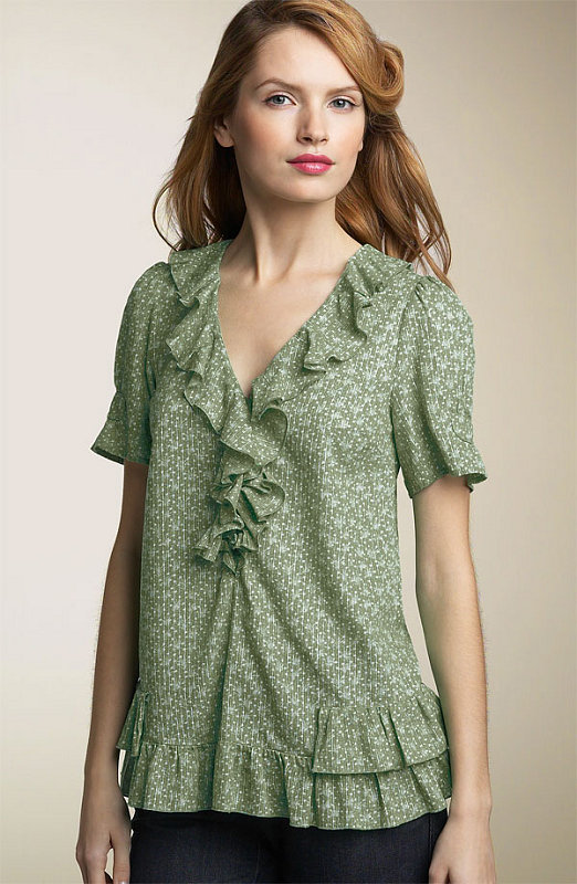 apple green printed top