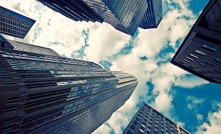 Blue Sky White Clouds  Big City HD Wallpaper