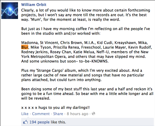 william orbit facebook, william orbit blur, william orbit news