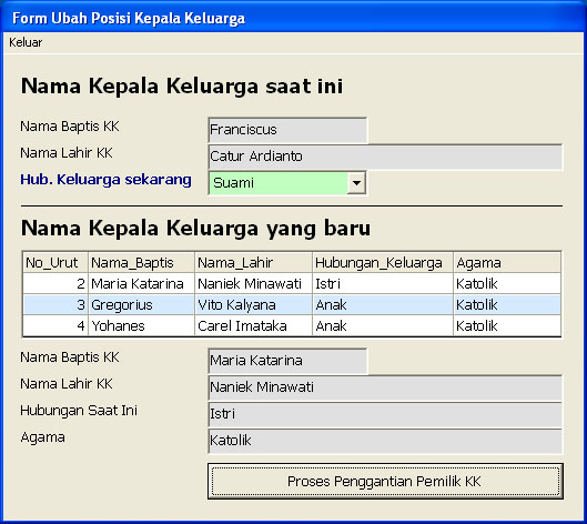 Form Ubah Urutan dan Kepemilikan Status KK