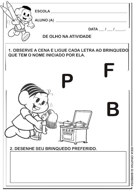 Atividade Educação Infantil Turma da Mônica Letra Inicial