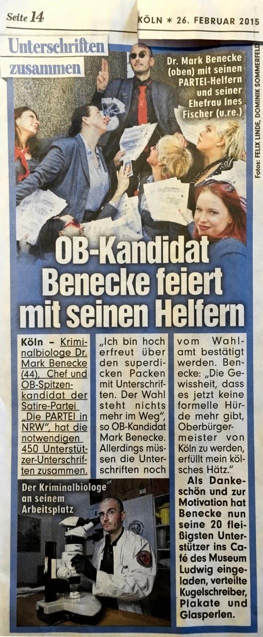 Die PARTEI Köln BILD-Artikel