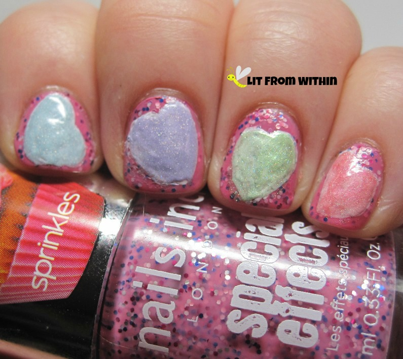 I chose pastel scattered holos for the hearts themselves