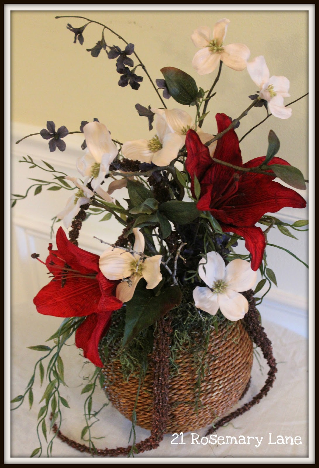 21 rosemary lane birthday gift silk floral arrangement plus donna selected this beautiful woven container for her arrangement and decided she wanted to stick with neutral flowers and just add a pop of color mightylinksfo