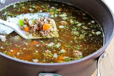 Kalyn's Kitchen®: Lentil Soup Recipe with Ground Beef and Brown Rice