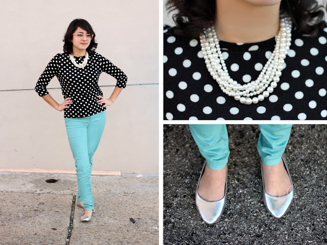 Get your vintage glam style on with these polka dots, vintage blue pants, pearls, and vintage glasses! | brewedtogether.com