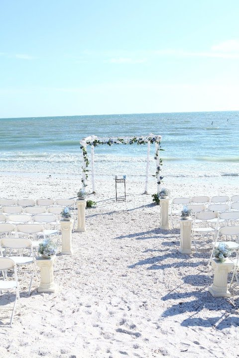 Our beach wedding arch setups are comprised of natural Bamboo