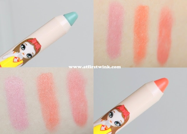 Peripera peri's tint crayons no. 2 and 3, swatched on my arm