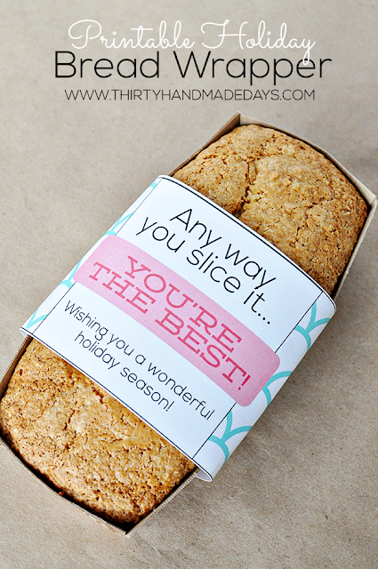 printable holiday bread wrapper