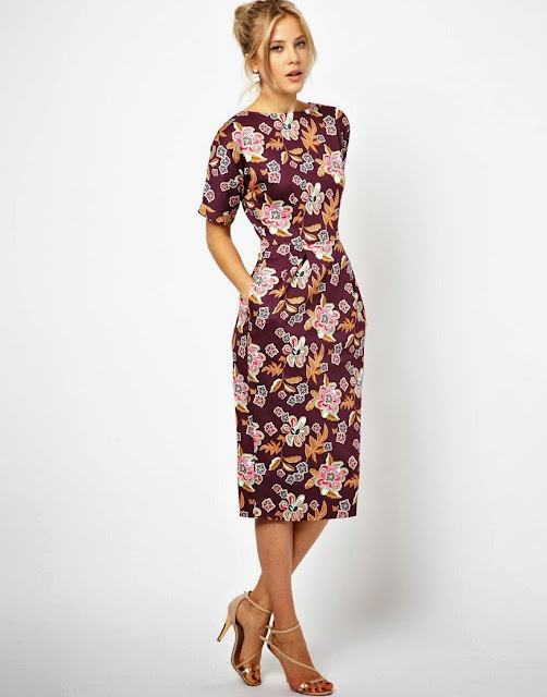 floral wiggle dress with pockets