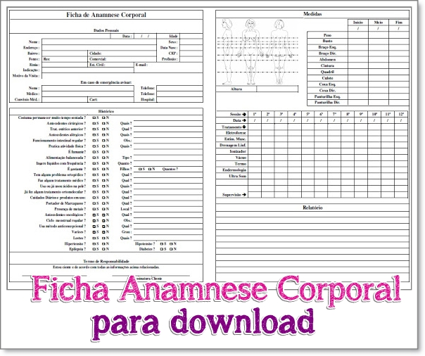 Super Ficha Anamnese Corporal para Download - Isis Mafra Esteticista GZ41