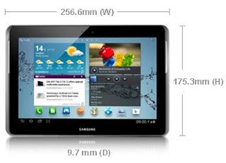 Dimensi Samsung Galaxy Tab 2 10.1 P5100