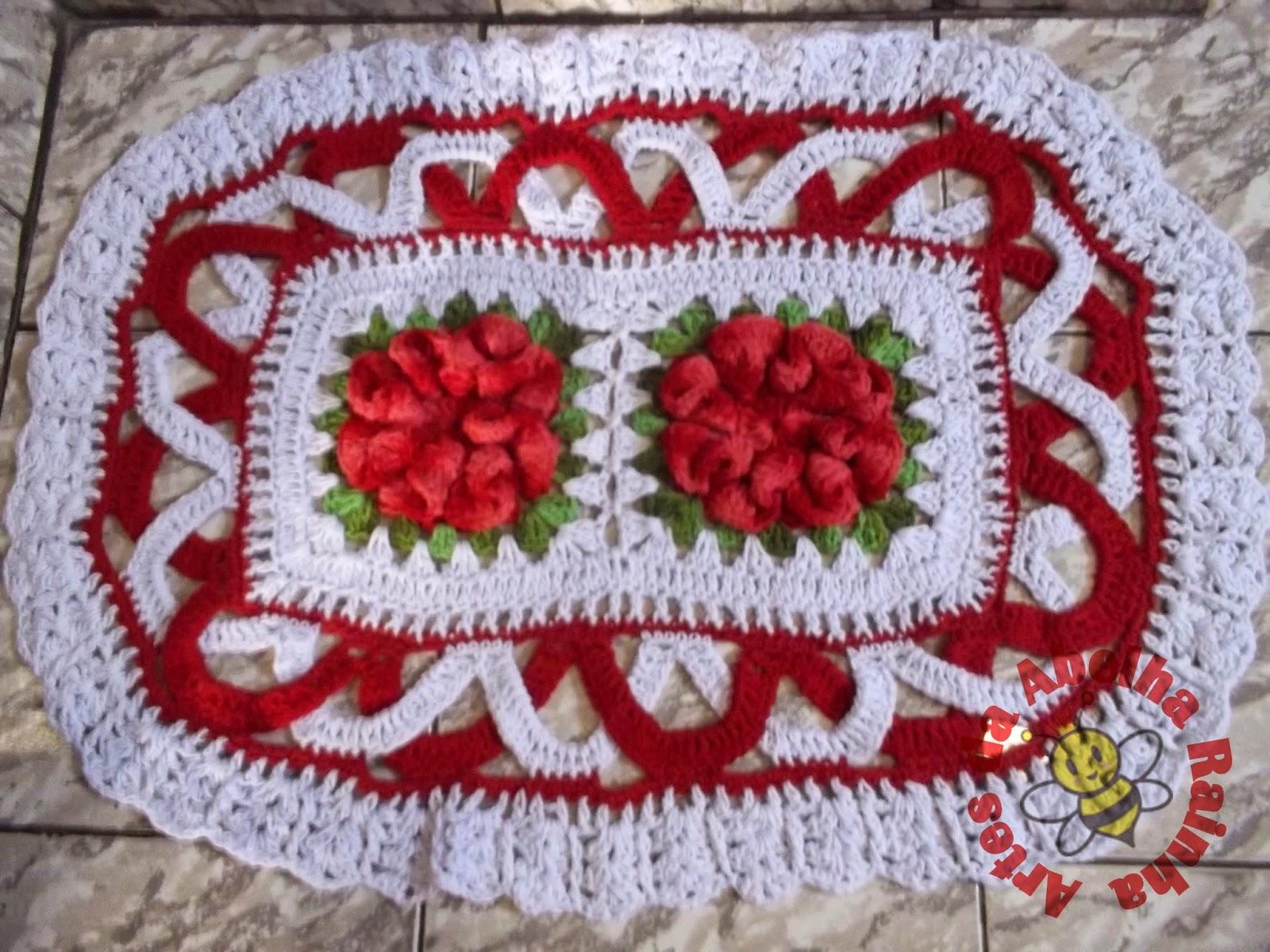 Rainha: Jogo de Banheiro de crochê Vermelho e Branco com Flores #7B141F 1600x1200 Banheiro Branco Vermelho