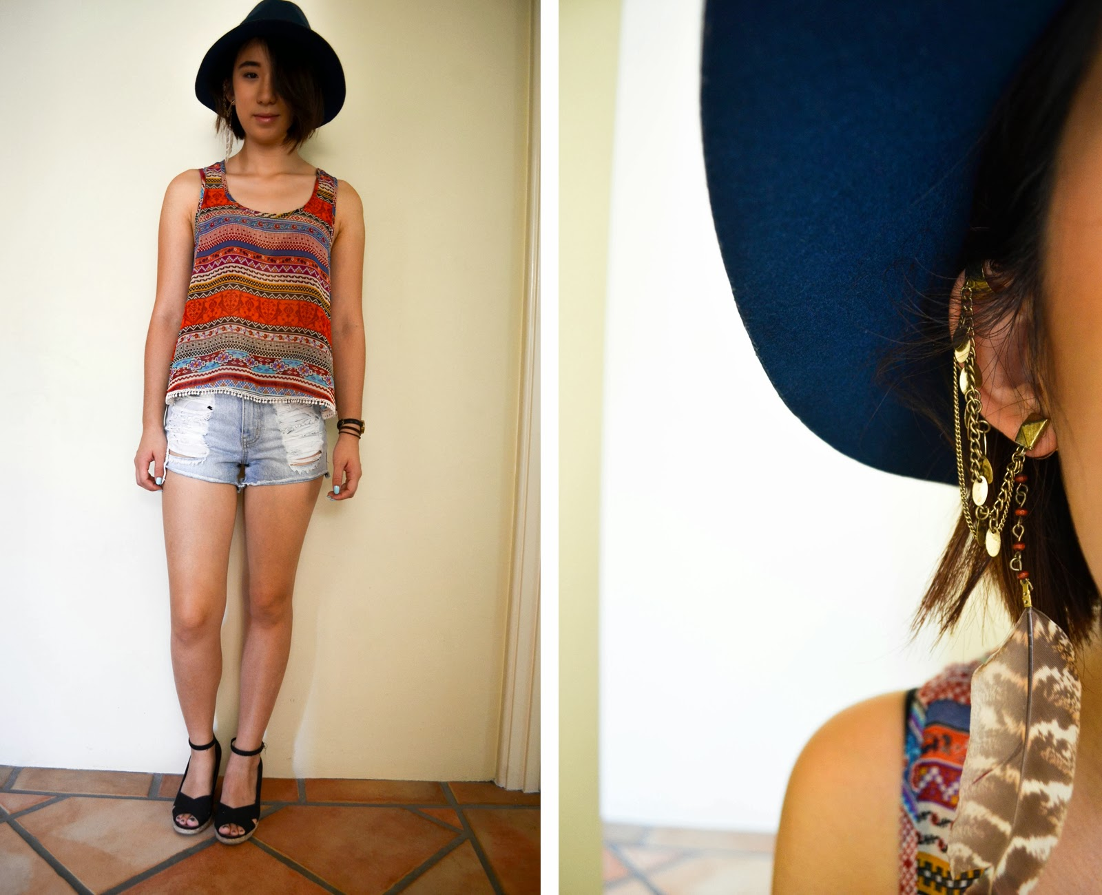 top hat boho inspiration look outfit style denim cutoff distressed forever 21 one teaspoon sportsgirl print pattern feather earring cuff