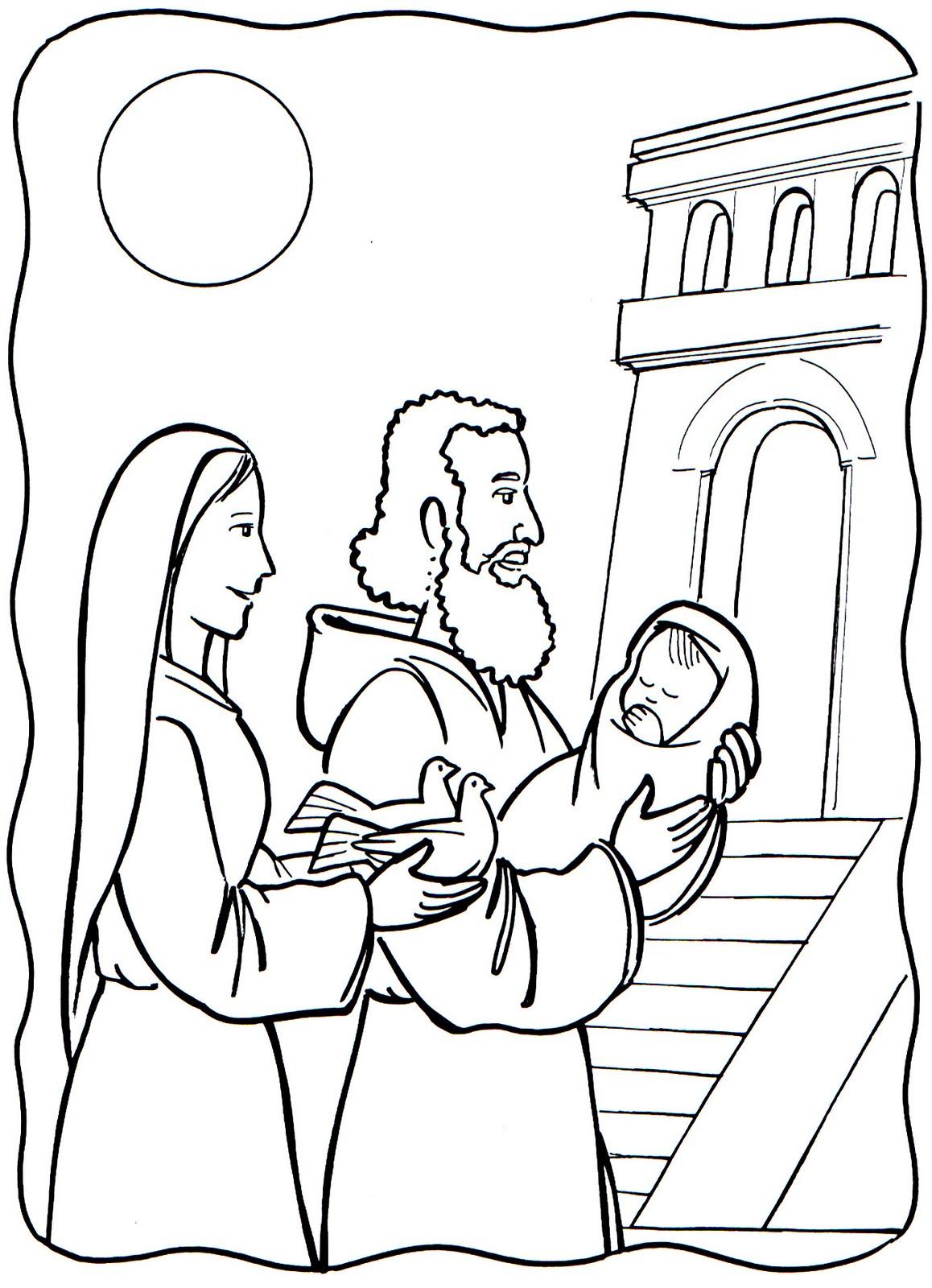 ... La Historia de la presentación de Jesús en el templo para colorear